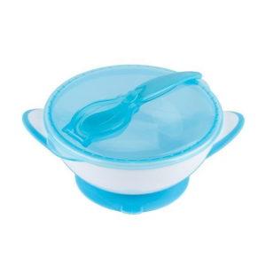 BabyOno tányér tapadó aljú fedeles kanállal kék