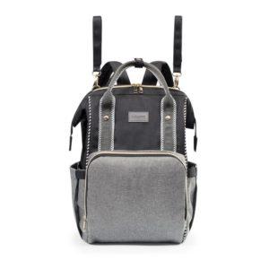 BabyOno pelenkázótáska hátizsák OSLO STYLE 30x40x16cm fekete/szürke