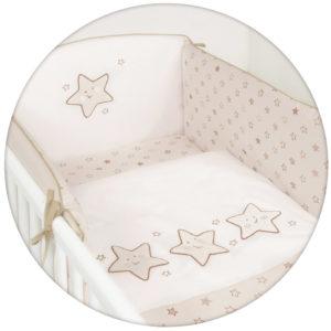 Ceba ágynemű huzat rácsvédővel 100x135 60x40cm hímzett csillag beige