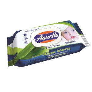 Aquella Kids Baby nedves törlőkendő aloe vera kupakos 60 db