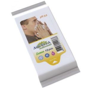 Aquella nedves törlőkendő Antibacterial Lemon 15 db