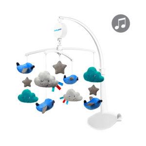 BabyOno forgó-zenélő utazóágyra és fa kiságyra felhők és repülők