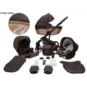 Mikrus multifunkciós babakocsi Comodo Bronz (merev mózes, hordozó 0-10kg, pelenkázótáska) műbőr 37 bronz mintás