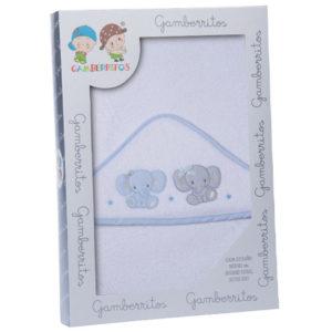 Gamberritos fürdőlepedő kapucnis 100x100cm elefánt fehér/kék