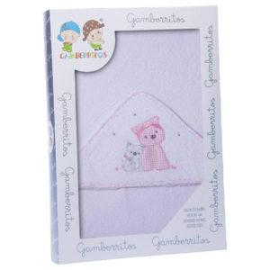 Gamberritos fürdőlepedő kapucnis 100x100cm kutya fehér/rózsaszín