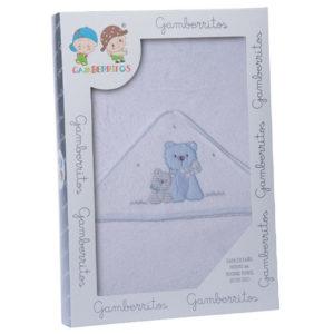 Gamberritos fürdőlepedő kapucnis 100x100cm kutya fehér/kék