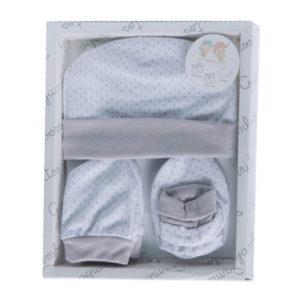 Gamberritos kiegészítő szett újszülötteknek 3 részes (sapka, kesztyű, kiscipő) pöttyös szürke