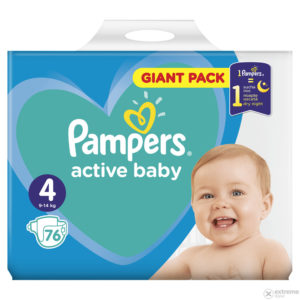 Pampers Active Baby 4 Giant Pack pelenka 9-14kg 76db