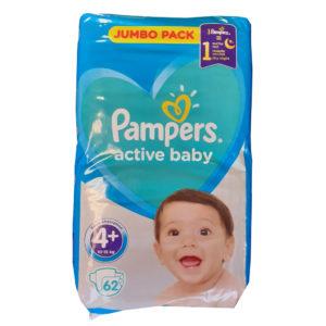 Pampers Active Baby 4plus Jumbo Pack pelenka 10-15kg 62db