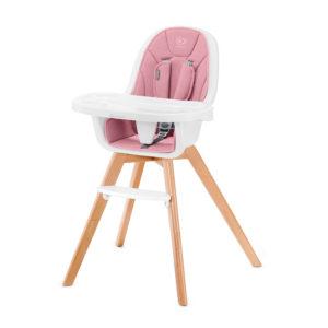 Kinderkraft etetőszék Tixi 2in1 fa lábbal pink