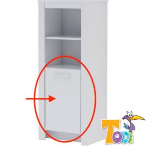 Todi ajtó White Bunny keskeny nyitott polcos szekrényhez