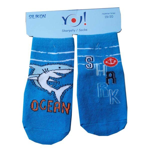 Scorpio Zokni pamut szilikon talpú SK-10 19/20 Kék cápa
